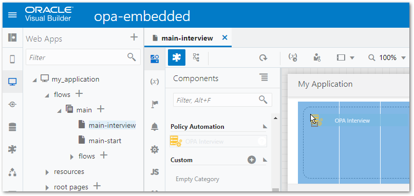 The OPA Interview component being added to a page in a VBCS web application
